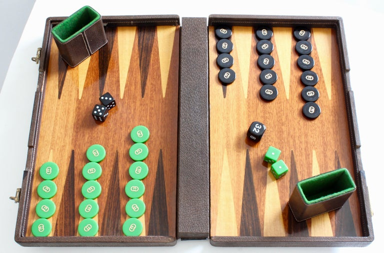 Gucci Backgammon Game In Leather Case With Webbing Original Pieces