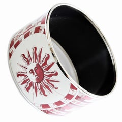 Hermes 65 Red Sun Zodiac Astrologie Extra Wide Printed Enamel Bracelet