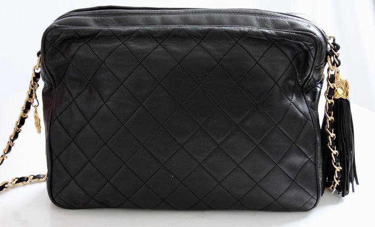 ac5d5a995c6f Vintage Chanel Quilted Shoulder Bag Black Lambskin Leather Matelasse CC Logo  80s For Sale 3