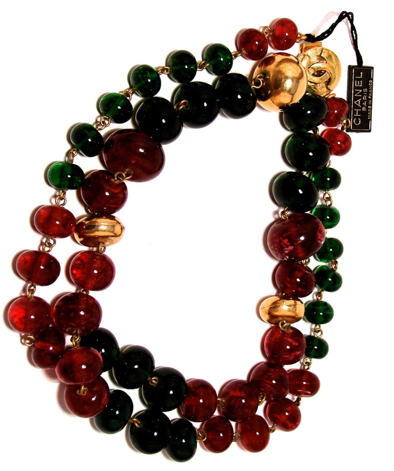 Baroque Vintage Chanel Beaded Necklace Red & Green Poured Glass Goossens 1970s