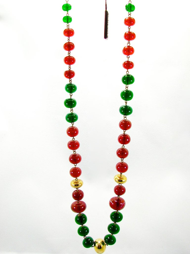Vintage Chanel Beaded Necklace Red & Green Poured Glass Goossens 1970s  1