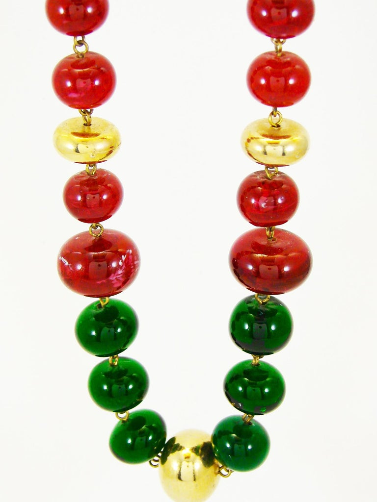 Vintage Chanel Beaded Necklace Red & Green Poured Glass Goossens 1970s  2