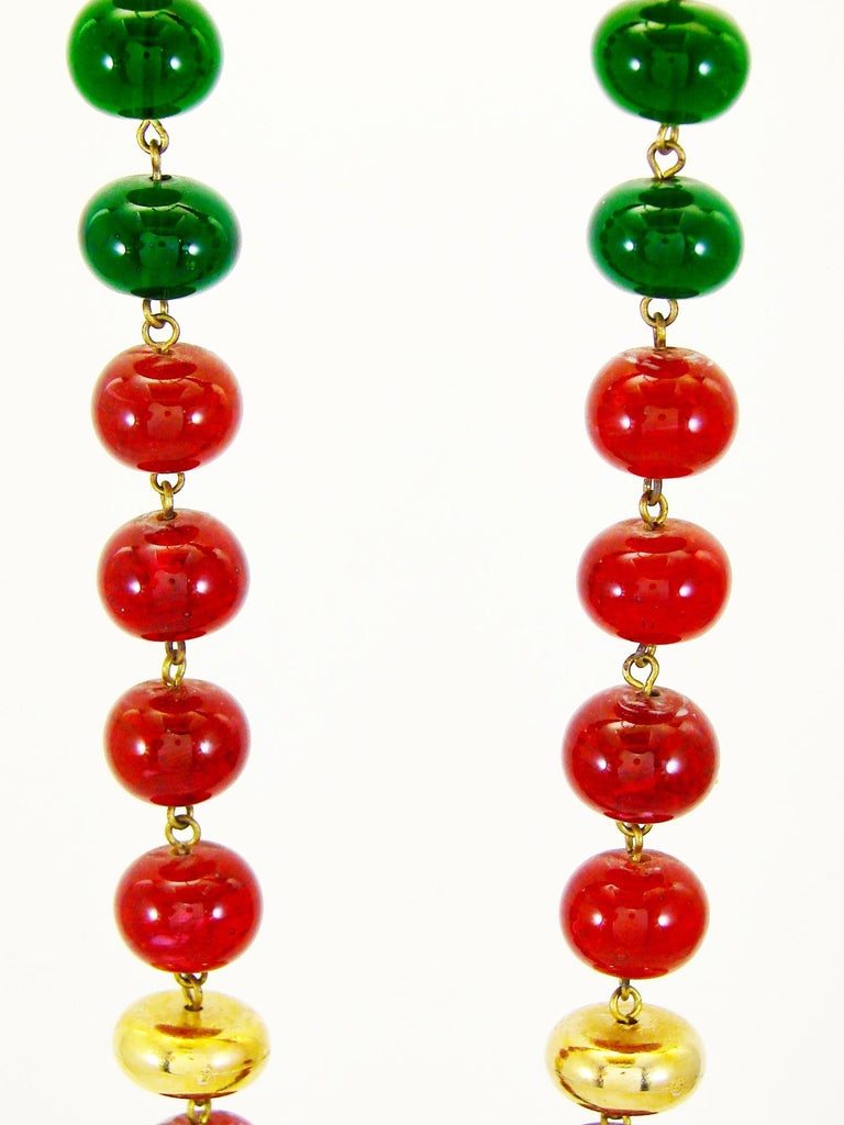 Vintage Chanel Beaded Necklace Red & Green Poured Glass Goossens 1970s  In Good Condition In Port Saint Lucie, FL