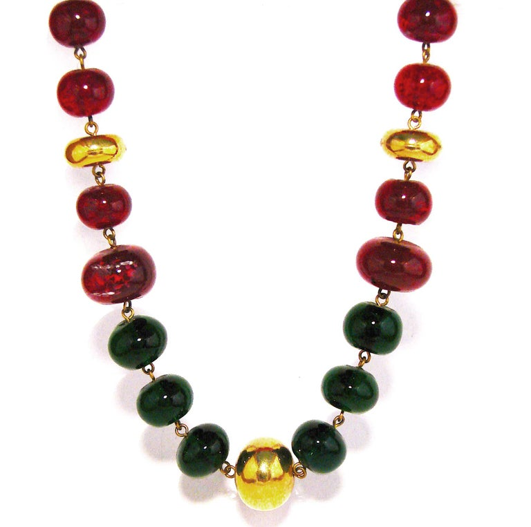 Vintage Chanel Beaded Necklace Red & Green Poured Glass Goossens 1970s  3