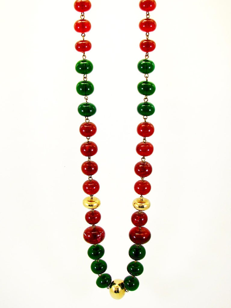 Women's or Men's Vintage Chanel Beaded Necklace Red & Green Poured Glass Goossens 1970s