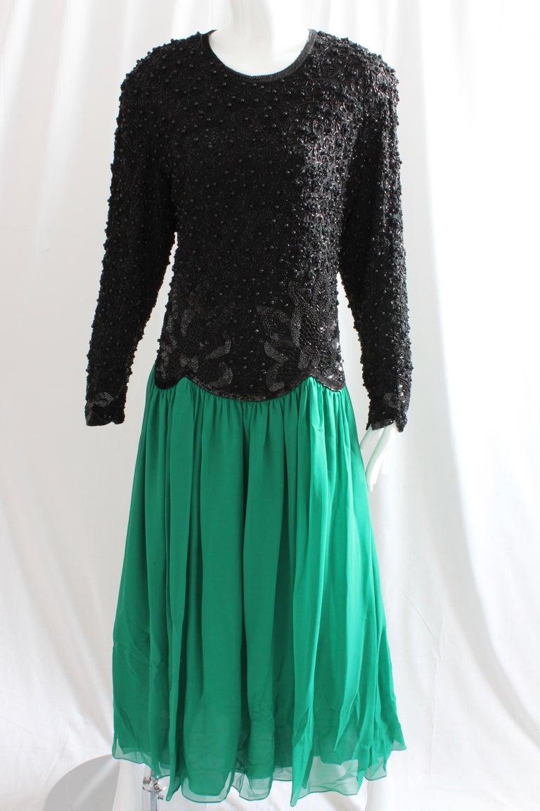 Blue Naeem Khan Riazee Evening Gown Silk Chiffon Skirt Formal L For Sale
