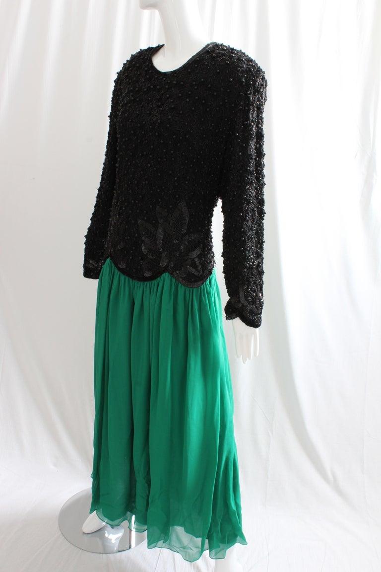 Women's Naeem Khan Riazee Evening Gown Silk Chiffon Skirt Formal L For Sale
