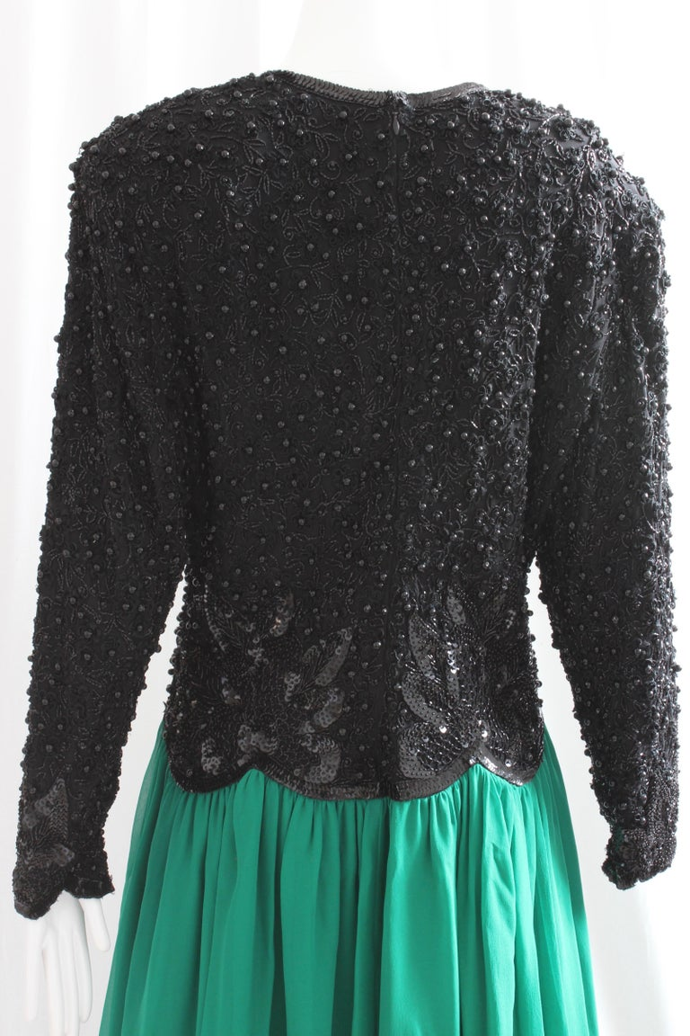 Naeem Khan Riazee Evening Gown Silk Chiffon Skirt Formal L For Sale 2