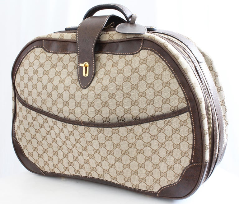 Gray Gucci GG Logo Canvas Small Carry On Bag Suitcase Overnight Luggage, 1970s  For Sale