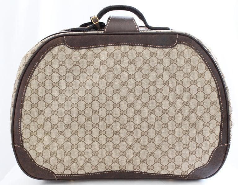 Women's or Men's Gucci GG Logo Canvas Small Carry On Bag Suitcase Overnight Luggage, 1970s  For Sale