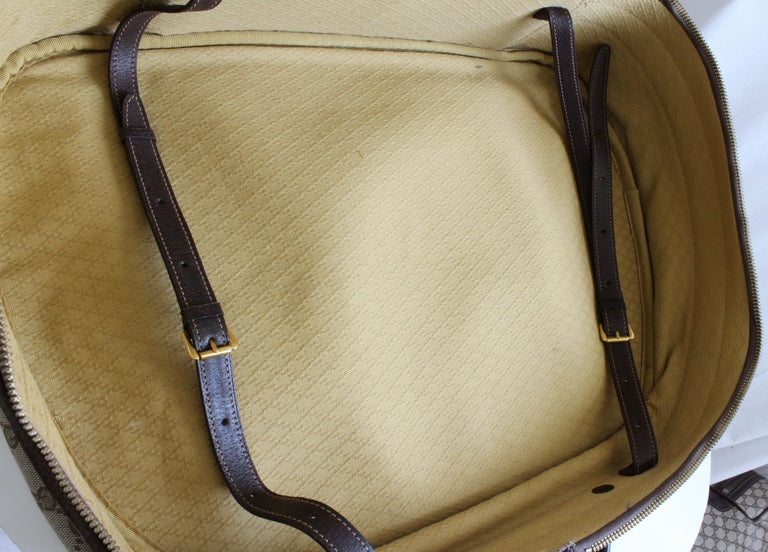 Gucci GG Logo Canvas Small Carry On Bag Suitcase Overnight Luggage, 1970s  For Sale 4