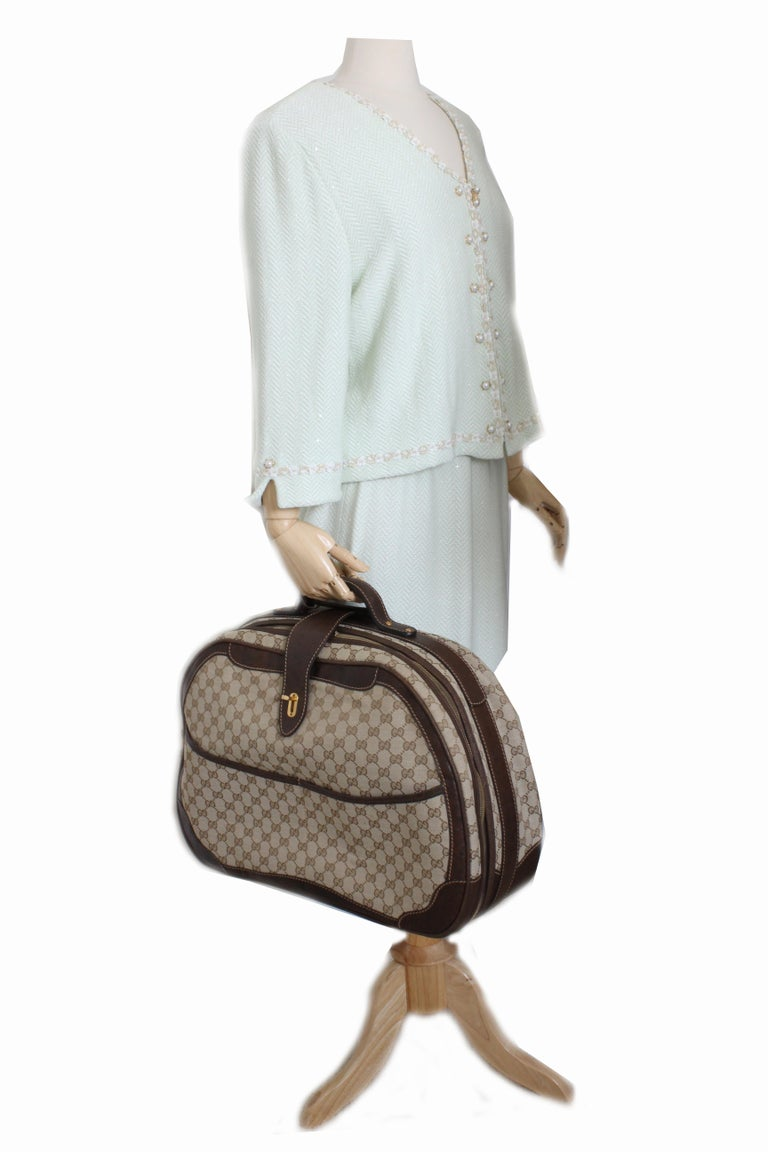 Gucci GG Logo Canvas Small Carry On Bag Suitcase Overnight Luggage, 1970s  For Sale 2