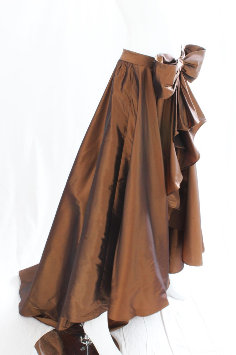 Brown Vicky Tiel Attributed Formal Wrap Skirt with Large Bow and Ruffle Detail  For Sale