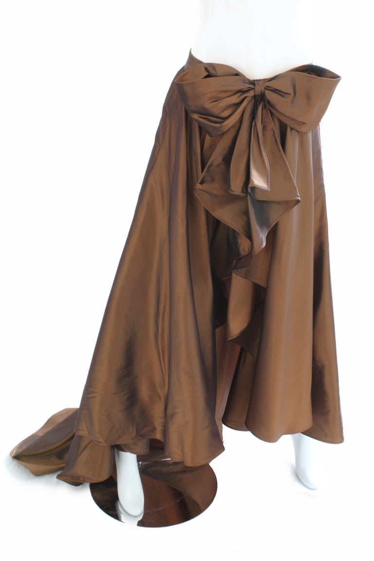 Vicky Tiel Attributed Formal Wrap Skirt with Large Bow and Ruffle Detail  For Sale 1