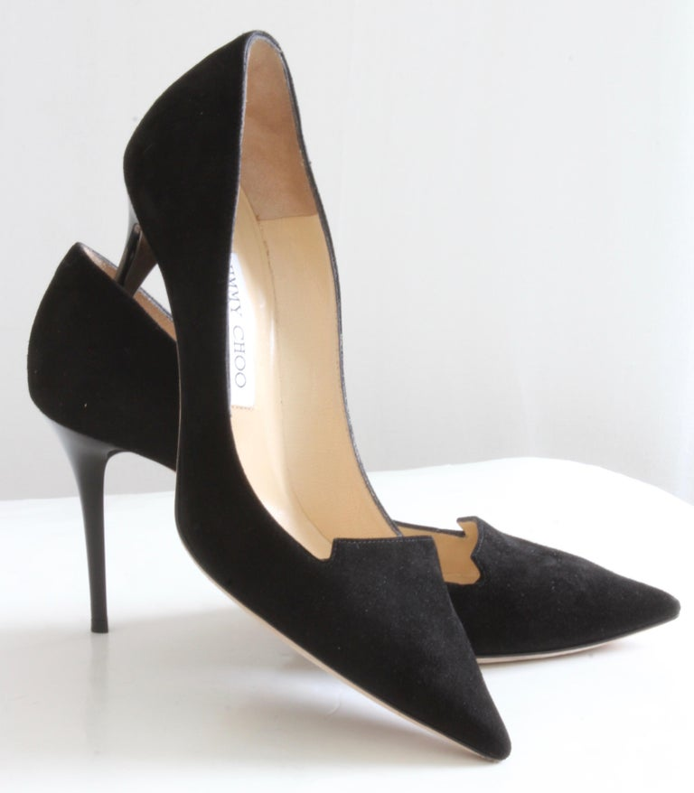 29b6712e1ca2 Here s a pair of sleek black suede stiletto pumps from Jimmy Choo. From  their 247