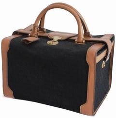 Rare Gucci Black Monogram Canvas & Leather Train Case Doctors Bag Vanity 1970s
