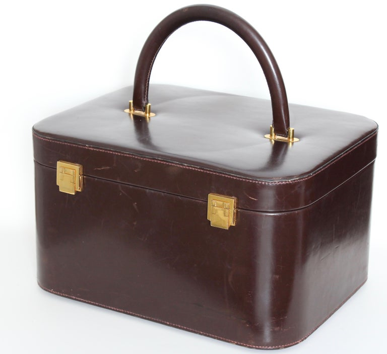 1282877487e Black Rare Hermes Box Leather Train Case Vanity with Mirror Travel Carry On  Bag 1950s For