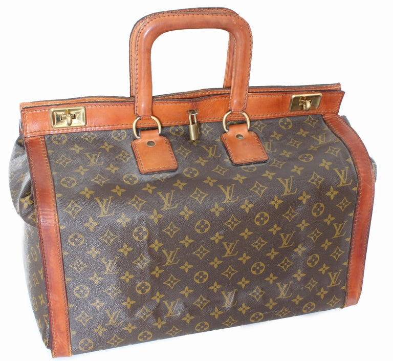 fe371c3a3f22 Brown Rare Louis Vuitton Doctors Bag Steamer Tote Keepall Vintage 50s  Monogram Canvas For Sale