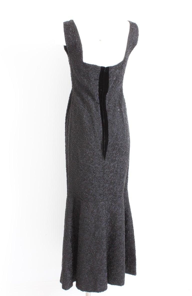 c0e643b65e24 Women's 60s Evening Gown Mermaid Fishtail Hem Black Beaded Brocade Sz S  Rare Formal For Sale