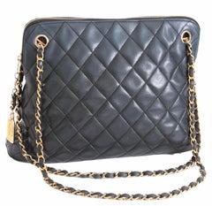 Iconic Chanel Shoulder Bag Lambskin Matelasse Leather Chain Straps + Dust Bag