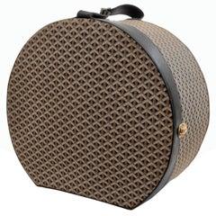 Ultra Rare Goyard Round Hat Box Travel Trunk Goyardine & Black Leather Trim 53cm