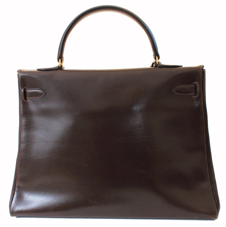 Hermes Kelly Bag 35cm Retourne Sac a Depeches Brown Box Leather Vintage  In Good Condition For Sale In Port Saint Lucie, FL