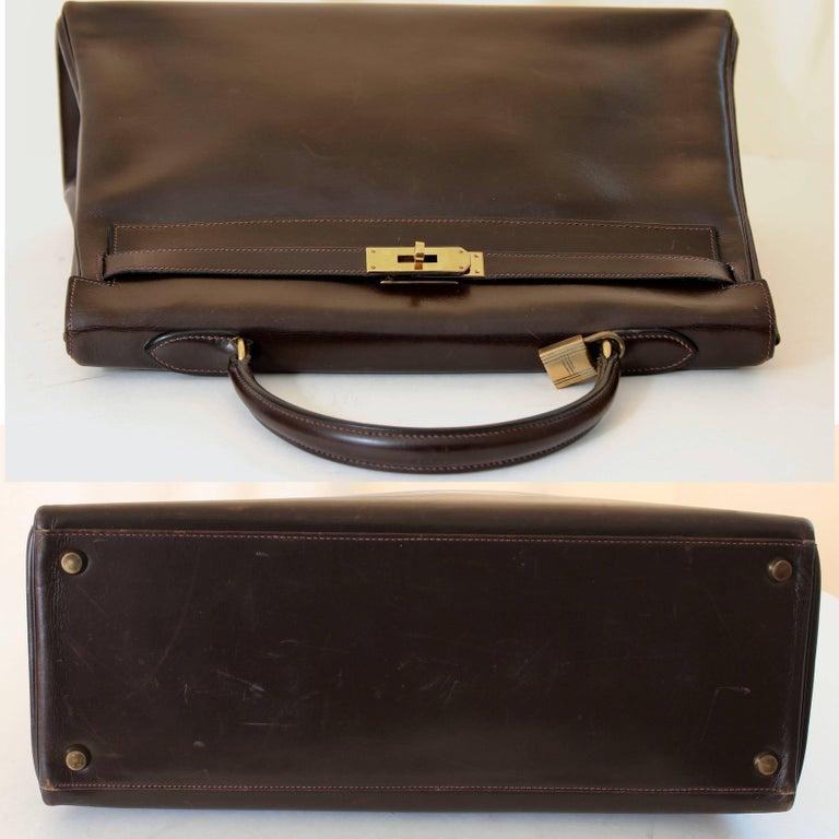 Hermes Kelly Bag 35cm Retourne Sac a Depeches Brown Box Leather Vintage  For Sale 1