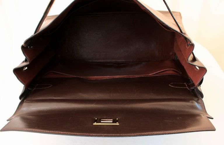 Hermes Kelly Bag 35cm Retourne Sac a Depeches Brown Box Leather Vintage  For Sale 2