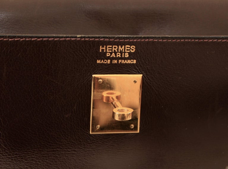 Hermes Kelly Bag 35cm Retourne Sac a Depeches Brown Box Leather Vintage  For Sale 3