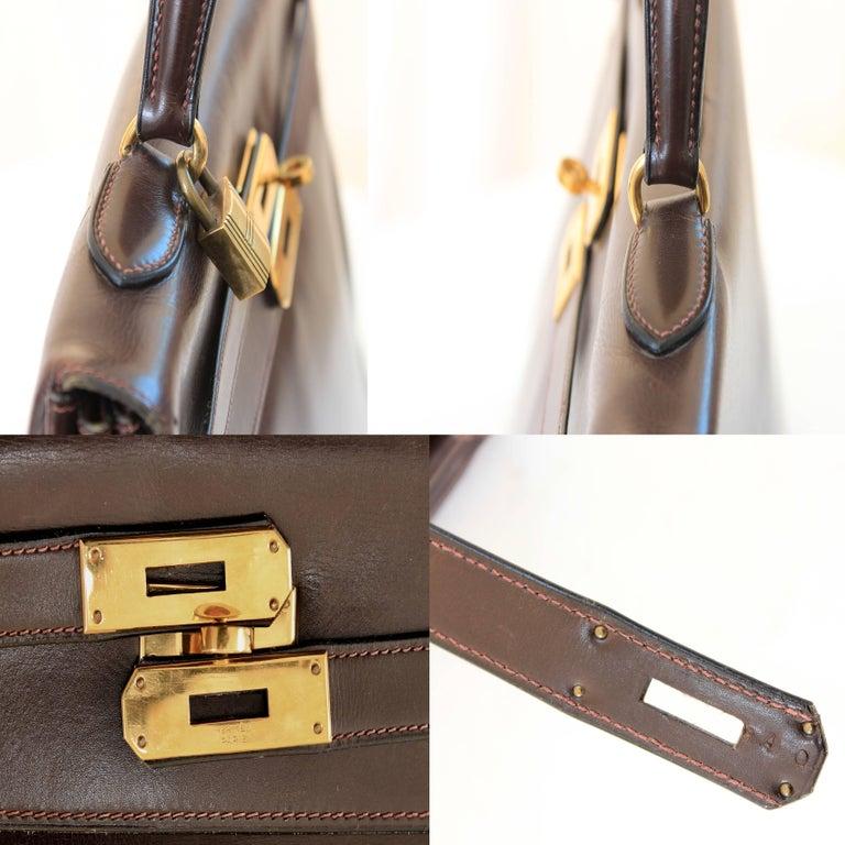 Hermes Kelly Bag 35cm Retourne Sac a Depeches Brown Box Leather Vintage  For Sale 4