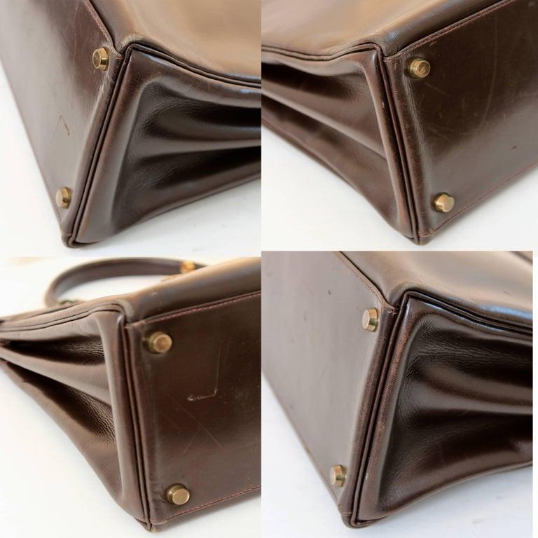 Hermes Kelly Bag 35cm Retourne Sac a Depeches Brown Box Leather Vintage  For Sale 5
