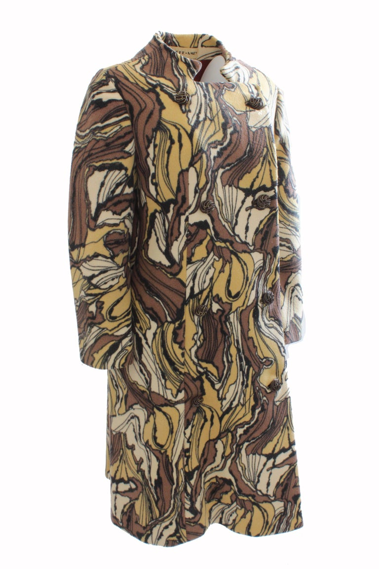 Rare Burke-Amey Wool Coat Tzaims Luksus Warp Print Vintage 60s M  In Good Condition For Sale In Port Saint Lucie, FL