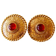Givenchy Etruscan Earrings Red Glass Cabochon Clip Style 1970s