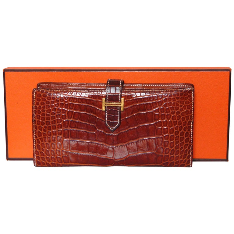 Hermes Alligator Wallet Bearn Honey Miel Croc with Contrast Stitching with Box For Sale