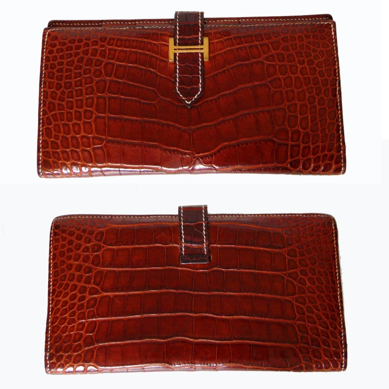 Red Hermes Alligator Wallet Bearn Honey Miel Croc with Contrast Stitching with Box For Sale