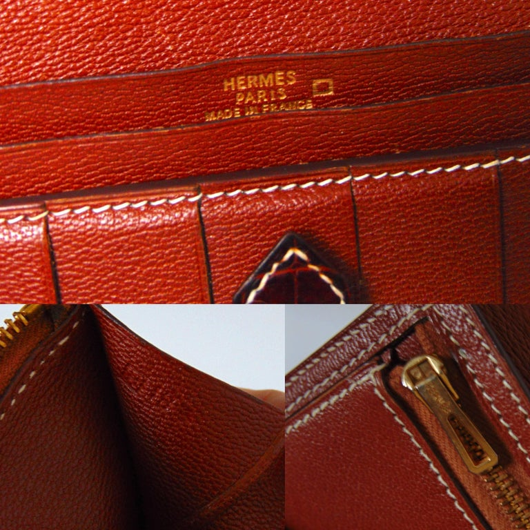 Hermes Alligator Wallet Bearn Honey Miel Croc with Contrast Stitching with Box For Sale 1