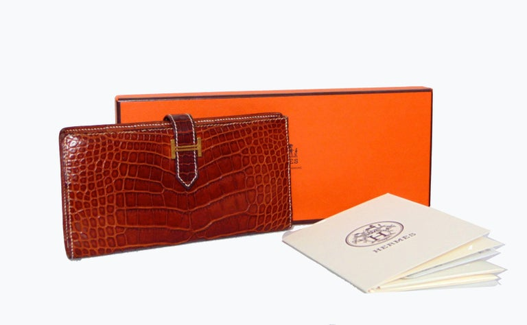 Hermes Alligator Wallet Bearn Honey Miel Croc with Contrast Stitching with Box For Sale 3