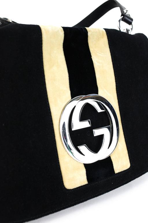 Gucci Velvet Gg Logo Bag At 1stdibs