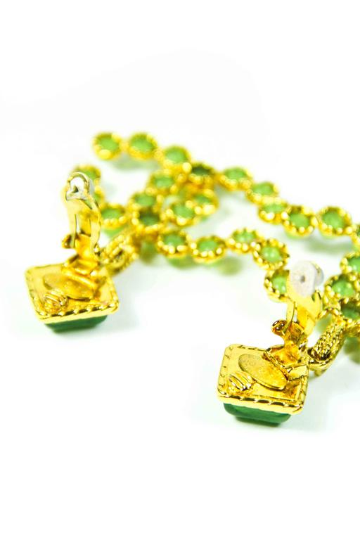 1990's Vintage Chanel Green and Gold Gripoix Earrings  3