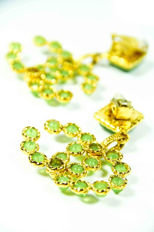 1990's Vintage Chanel Green and Gold Gripoix Earrings  4