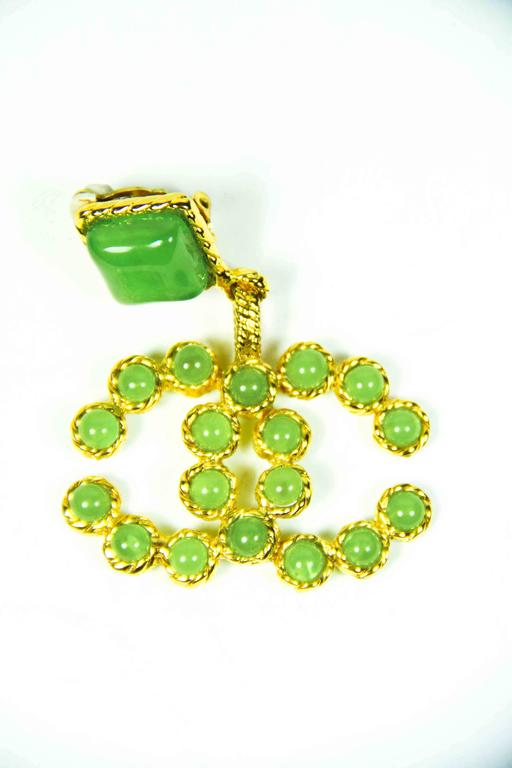 1990's Vintage Chanel Green and Gold Gripoix Earrings  5