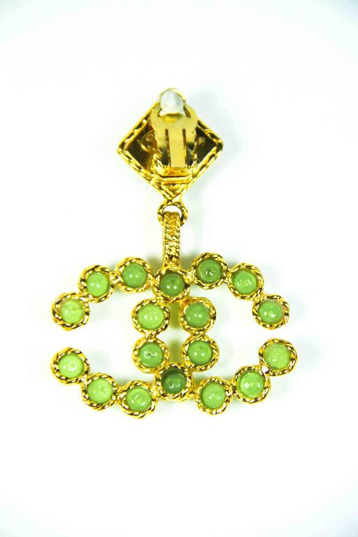 1990's Vintage Chanel Green and Gold Gripoix Earrings  7