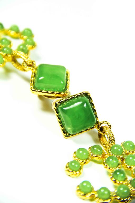 1990's Vintage Chanel Green and Gold Gripoix Earrings  8
