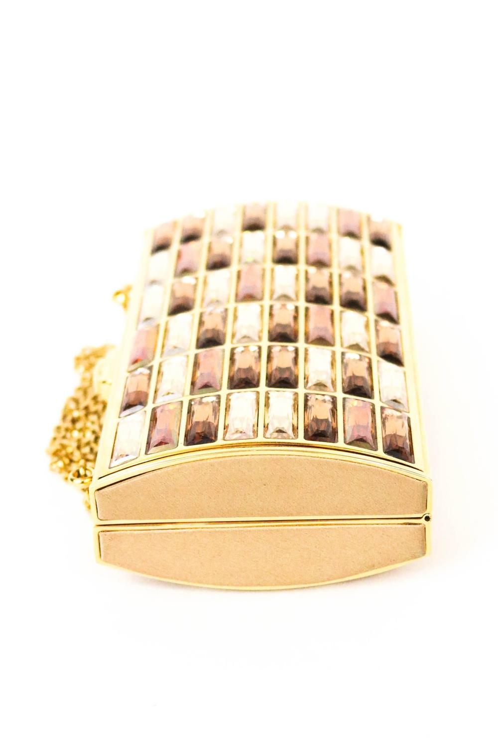 Judith Leiber Bronze Crystal Goddess Clutch For Sale at ...
