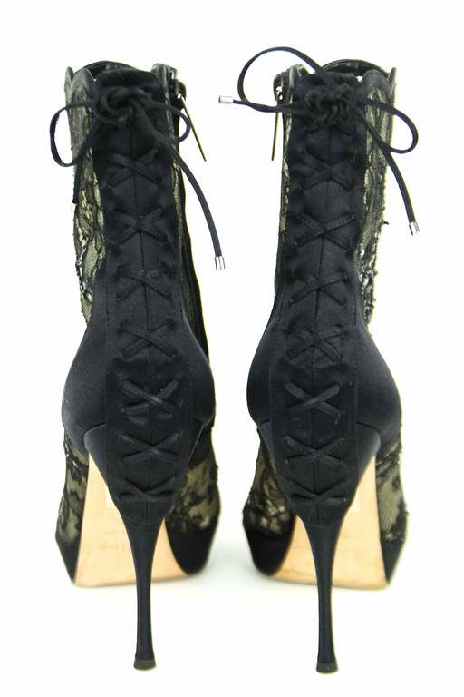 CHRISTIAN DIOR Beaded Lace Open Toe Platform Bootie 39.5  3