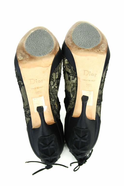 CHRISTIAN DIOR Beaded Lace Open Toe Platform Bootie 39.5  6