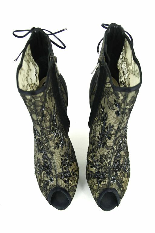 CHRISTIAN DIOR Beaded Lace Open Toe Platform Bootie 39.5  4
