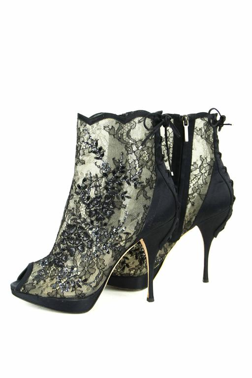 CHRISTIAN DIOR Beaded Lace Open Toe Platform Bootie 39.5  7