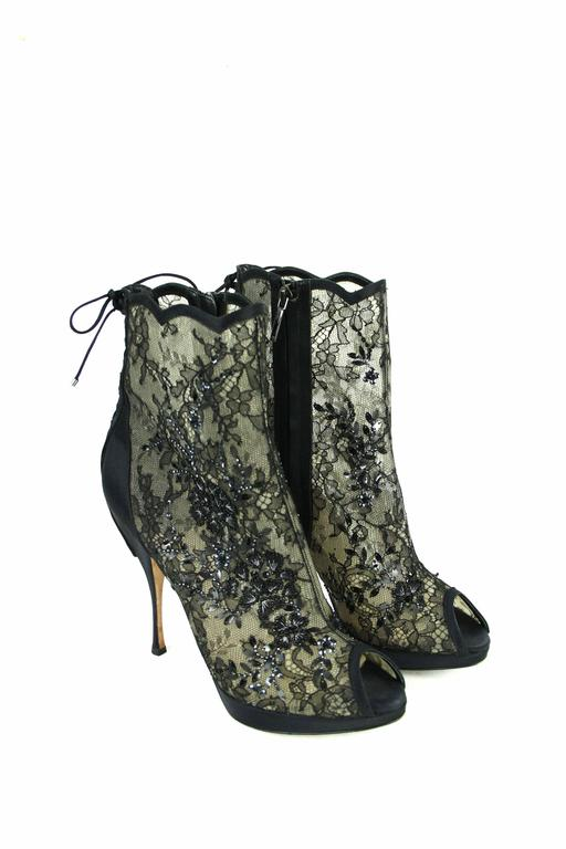 CHRISTIAN DIOR Beaded Lace Open Toe Platform Bootie 39.5  5