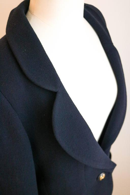 CHANEL Classic Navy Blazer with Logo Button 36 5